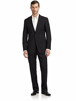 Armani Collezioni - Wool Pinstripe Two-Button Suit/Slim-Fit