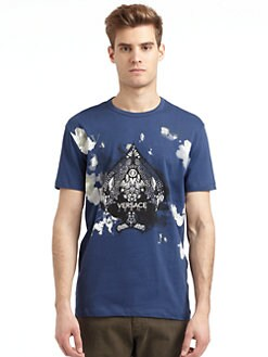 Versace Jeans - Graphic Abstract Spade Print T-Shirt/Slim-Fit