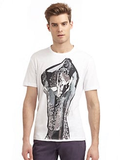 Versace Jeans - Abstract Model Graphic Print T-Shirt/Slim-Fit