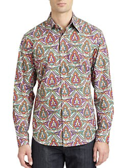 Robert Graham - Blenheim Woven Cotton Abstract Button-Down Shirt