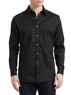 Robert Graham - Mosaic Woven Cotton Jacquard Detail Button-Down Shirt