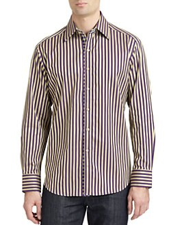Robert Graham - Woven Cotton Stripe Jacquard Button-Down Shirt
