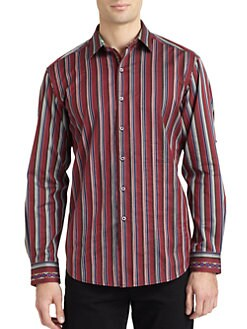 Robert Graham - Ashlar Woven Cotton Striped Stitch Button-Down Shirt
