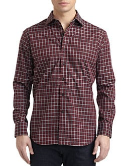 Robert Graham - Tank Woven Cotton Grid Button-Down Shirt