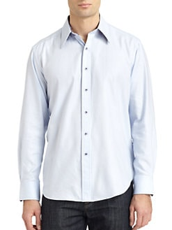 Robert Graham - Woven Cotton Wale Stripe Button-Down Shirt