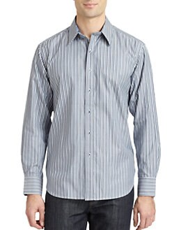 Robert Graham - Woven Cotton Striped Button-Down Shirt