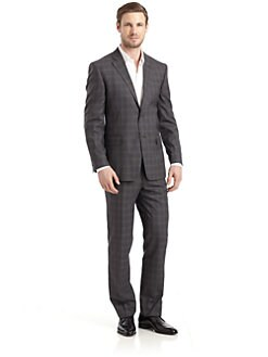 Valentino - Wool Plaid Two-Button Suit/Slim-Fit