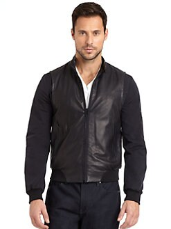 Elie Tahari - Carl Leather Mixed-Media Baseball Jacket