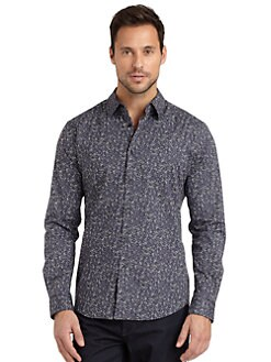 Elie Tahari - Steve Printed Stretch Cotton Shirt