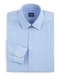 Armani Collezioni - Striped Cotton Button-Front Shirt