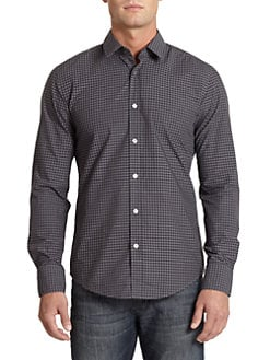 Hugo Boss - Ronny Gingham Button-Front Shirt/Black & Grey