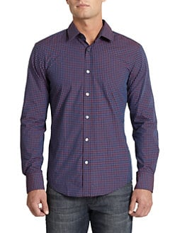 Hugo Boss - Ronny Gingham Button-Front Shirt/Purple & Blue