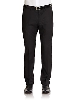 Hugo Boss - Crigan Woven Pinstriped Wool Pants/Black