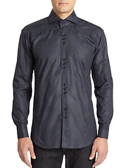 Bogosse - Bird's-Eye Baroque Cotton Button-Front Shirt