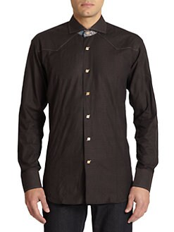 Bogosse - Paisley Contrast Jacquard Woven Cotton Button-Front Shirt
