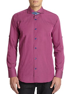 Bogosse - Paisley Contrast Cotton Button-Front Shirt/Purple