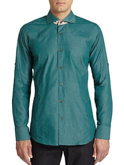 Bogosse - Paisley Contrast Cotton Button-Front Shirt/Green
