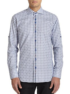 Bogosse - Paisley Contrast Mini Check-Print Button-Front Shirt/Blue