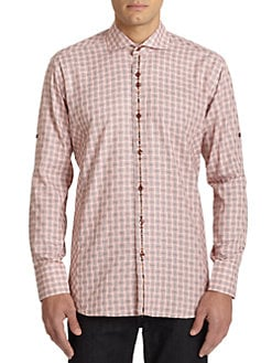 Bogosse - Paisley Contrast Mini Check-Print Button-Front Shirt/Red