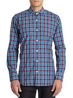 Bogosse - Gingham Plaid Cotton Button-Front Shirt/Blue