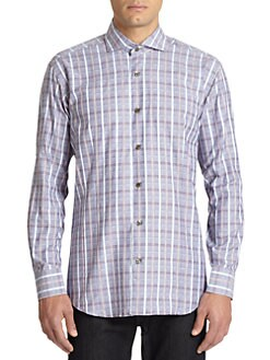 Bogosse - Bird's-Eye & Plaid-Print Cotton Button-Front Shirt