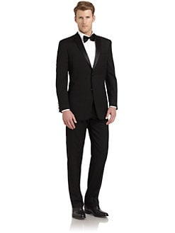 Ike Behar - Satin Notched-Lapel Wool Tuxedo