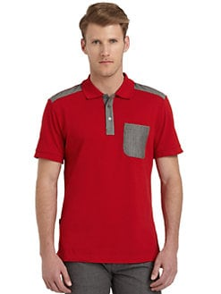 Moschino - Cotton Plaid-Contrast Polo Shirt