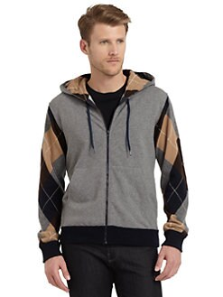 Moschino - Mixed Media Zip-Front Hoodie