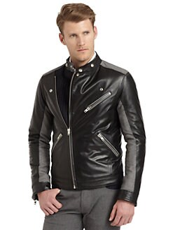 Moschino - Leather/Wool Mixed Media Moto Jacket