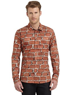 Moschino - Brick-Print Cotton Button-Down Shirt