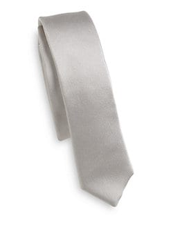 Dolce & Gabbana - Silk Satin Skinny Tie/Silver