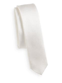 Dolce & Gabbana - Silk Satin Super Skinny Tie/Ivory