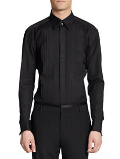 Dolce & Gabbana - Cotton Button-Front Tuxedo Shirt/Black
