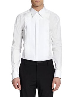 Dolce & Gabbana - Cotton Button-Front Tuxedo Shirt/White
