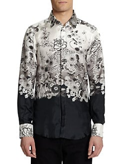 Dolce & Gabbana - Crane-Print Silk Button-Front Shirt
