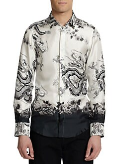 Dolce & Gabbana - Dragon-Print Silk Button-Front Shirt