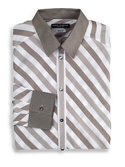 Dolce & Gabbana - Silk-Trimmed Striped Cotton Dress Shirt