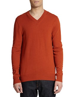Dolce & Gabbana - Cashmere V-Neck Pullover Sweater/Brick