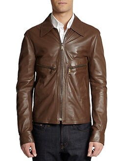 Dolce & Gabbana - Short Leather Zip-Front Jacket