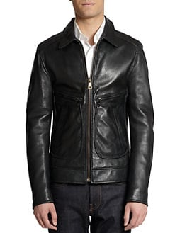 Dolce & Gabbana - Long Leather Zip-Front Jacket