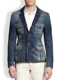 Just Cavalli - Giacche Distressed Denim Blazer