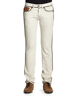 Just Cavalli - Piping Detail Straight-Leg Jeans