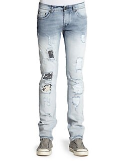 Just Cavalli - Ombre Distressed Straight-Leg Jeans