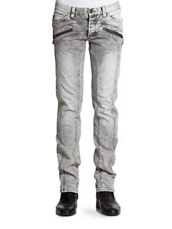 Just Cavalli - Zip-Detail Faded Jeans
