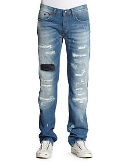 Just Cavalli - Patch Detail Distressed Straight-Leg Jeans