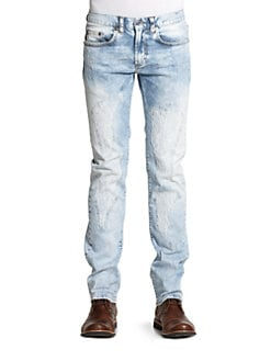 Just Cavalli - Distressed & Faded Straight-Leg Jeans