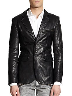 Just Cavalli - Notched Lapel Leather Jacket