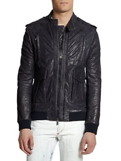 Just Cavalli - Knit Trim Double-Zip Leather Jacket