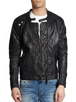 Just Cavalli - Cotton & Leather Double-Zip Jacket