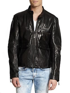 Just Cavalli - Pebbled Leather Zip-Front Jacket